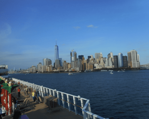 Sailing past Lower Manhattan on the Norwegian Gem