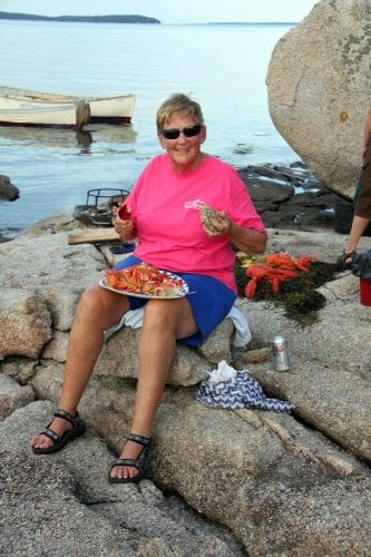 eating lobster on the beach - it doesn't get any better than this!