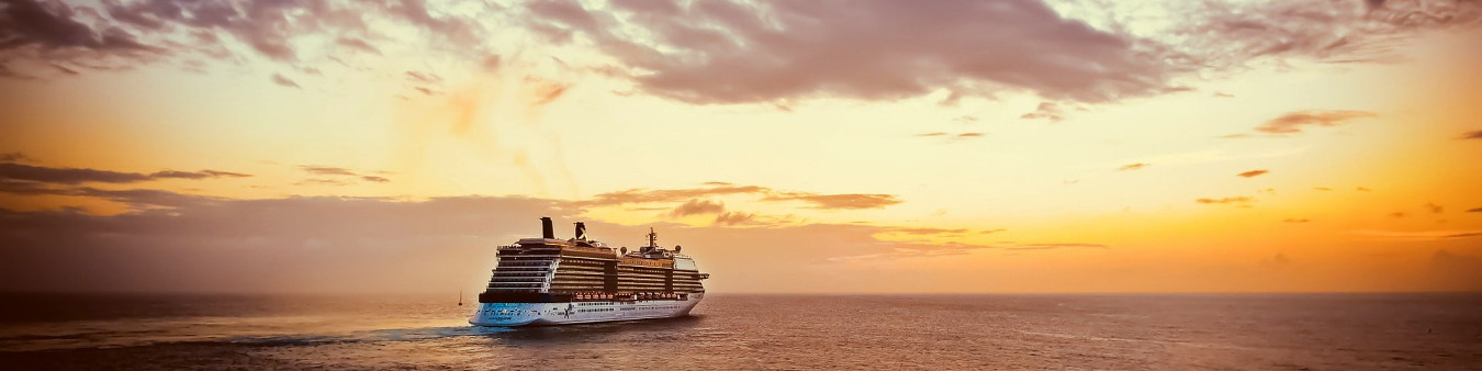 Cruise ship with sunset