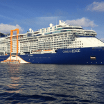 The Celebrity Edge, with tangerine track on the side to slide the Magic Carpet. Photo courtesy of David G. Molyneaux