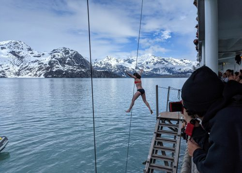 Polar plunge off UnCruise Wilderness Legacy