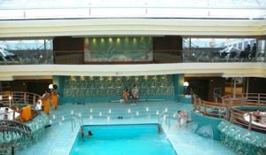 The MSC has four swimming pools and many hot tubs.