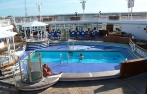 Adults-only spaces such as this Quiet Cove Pool are plentiful aboard the Disney Magic.