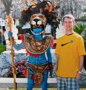 Logan Peters pauses for a photo op at San Gervasio in Cozumel.