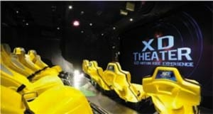 The 4D Theater has seats that shake, tilt and move during the movie.