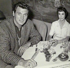 Rock Hudson and Jennifer Jones enjoy lunch while filming a movie in Italy.