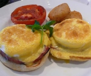 Eggs Benedict is one of the popular dishes at the Punchliner Brunch.