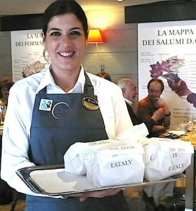 Bread in the Eataly restaurant is served in individual bags for each diner.