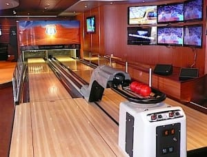 A 10-pin bowling alley is an unusual attractions aboard the MSC Divina.