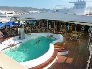 The swimming pool and sun deck on the Louis Cristal