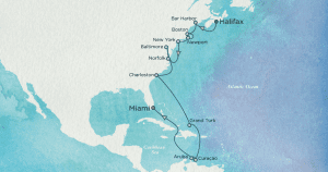 Map courtesy of Crystal Cruises