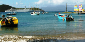 Boats bobbing near the dock on Les Saintes, French West Indies