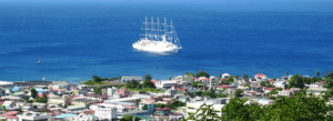 Wind Surf at anchor off Dominica in the Caribbean