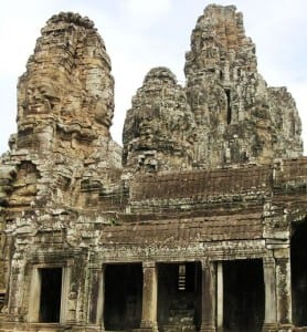 Buddhist temple in Angkor Thom features 200 faces carved in towers and bas reliefs