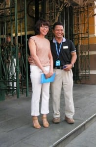 Avalon cruise driector Phiem and his wife in Ho Chi Minh City