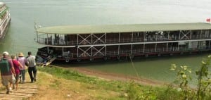 The 32-passenger Avalon Angkor on the Tonle Sap River in Cambodia