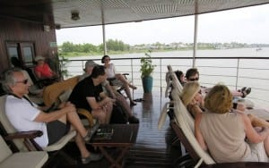 End of the day, relaxing on Avalon Angkor