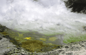An island of gaseous steam and acid pools