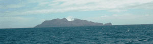 Approaching by (rocking) boat to volcanic White Island from Whatakane, New Zealand