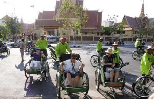 Cyclo taxis in Phnom Penh, Cambodia