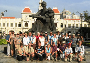 Our tour group stopped for a picture in front of a statue to Uncle Ho, also known as Ho Chi Minh