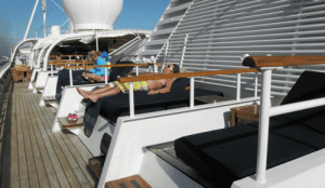 Day beds on the top deck of SeaDream yachts are made up for sleeping the night under the stars. Bring your jammies, and reserve on the first day of the cruise