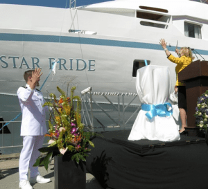 Godmother Nancy Anschutz christens the Star Pride in Barcelona