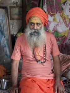 Hindu holy man at Babulnath Temple, Mumbai, India