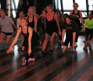 Rockettes lead an exercise class on Norwegian Breakaway