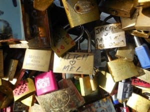 A few of the thousands of locks on Paris footbridges