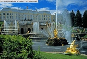 St. Petersburg, Russia:The Grand Cascade of the  Peterhof (Petrodvorets) Palace, summer palace of Peter the Great