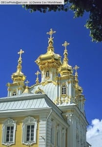 Chapel of the Peterhof (Petrodvorest) Palace, summer palace of Peter the Great in St. Petersburg, Russia.