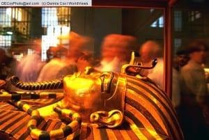 Egypt: King Tut golden sarcophagus mask in Cairo Egyptian Museum