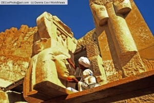 Deir El-Bahr, Egypt: Restoration work on Temple of Hatshepsut