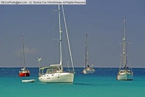 Barbados:  Pleasure boats at anchor on Carlisle Bay at Bridgetown