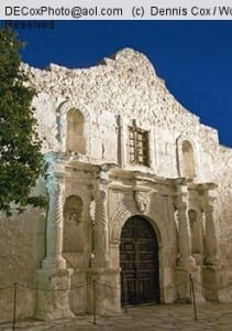 San Antonio Missions, The Alamo (AKA Mission San Antonio de Valero), State Historic Site, at night