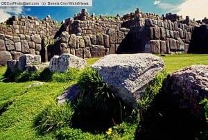 Inca Walls of Sacsayhuaman Fortress ruin at Cuzco