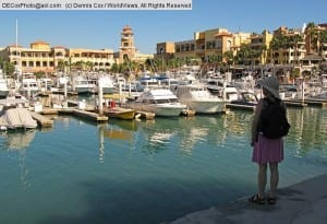Mexico: Tourist at Cabo San Lucas marina in Baja California