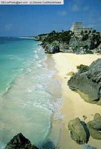 Mexico: Mayan ruins of Tulum on Yucatan shore of Caribbean Sea