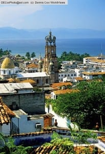 Mexico: Puerto Vallarta overview with steeple of the church of Guadalupe