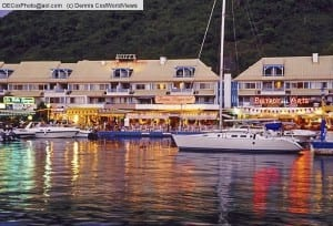 Saint Martin: Port La Royale Marina with restaurants at night in Marigot
