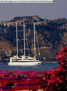 Small cruise ship in Taorima harbor, Sicily, Italy