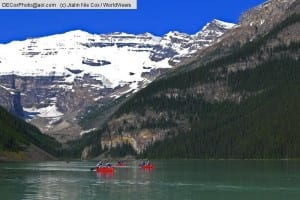 Lake Louise canoes with Victoria Glacier, Banff National Park, Alberta