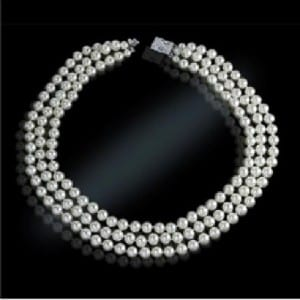 Jackie Kennedy Classic Look Triple Strand Pearl Necklace