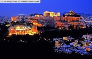 Athens, Greece: Acropolis with Parthenon atop and Odeon at left