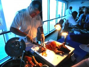 The officers staffed the BBQ on our final day at sea