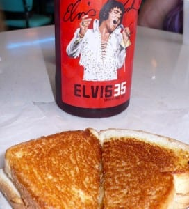 A fried peanut butter sandwich and Elvis commemorative drink at Graceland.