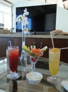 Healthy dining options are part of the relaxation element of the Couples Cabana Massage.