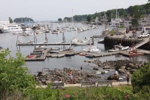 Camden Harbor Park provides a great-- view of the town's harbor and waterfront