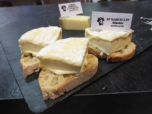 Cheese tasting at Les Halles Market in Lyon
